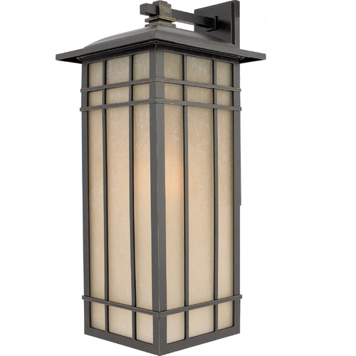 Quoizel Lighting Outdoor Wall Light with Amber Glass in Imperial Bronze Finish HCE8411IBFL