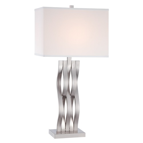 Lite Source Lighting Modern Table Lamp with Off-White Shade in Polished Steel Finish LS-22075