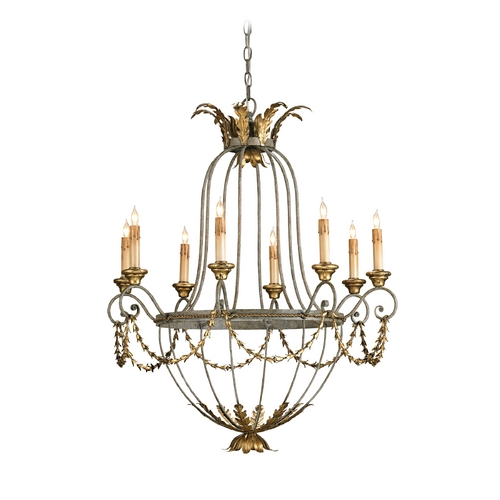 Currey and Company Lighting Chandelier in Etruscan/ Gold Leaf Finish 9948