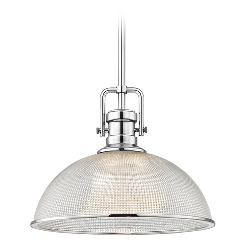 Design Classics Lighting Industrial Prismatic Pendant Light Chrome Finish 13.13-Inch Wide 1763-26 G1780-FC R1780-26