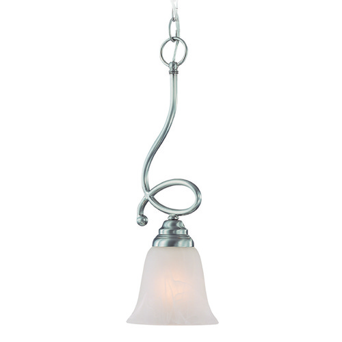 Jeremiah Lighting Jeremiah Cordova Satin Nickel Mini-Pendant Light with Bell Shade 25021-SN
