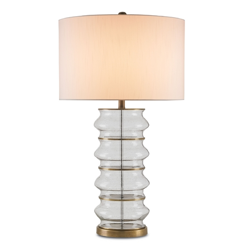 Currey and Company Lighting Currey and Company Lighting Seeded Glass / Antique Brass Table Lamp with Drum Shade 6759