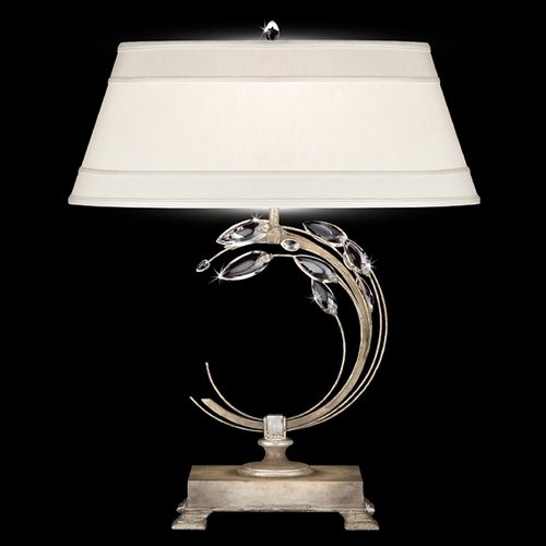 Fine Art Lamps Fine Art Lamps Crystal Laurel Antiqued Warm Silver Leaf Table Lamp with Oval Shade 771510ST