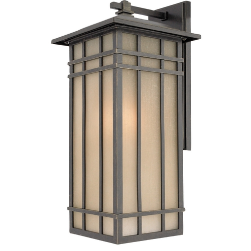 Quoizel Lighting Outdoor Wall Light with Amber Glass in Imperial Bronze Finish HCE8409IBFL