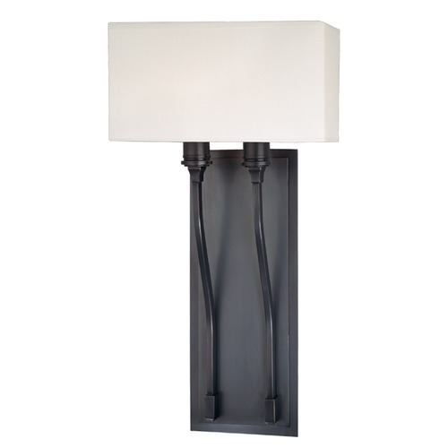 Hudson Valley Lighting Modern Sconce Wall Light with White Shades in Satin Nickel Finish 642-SN