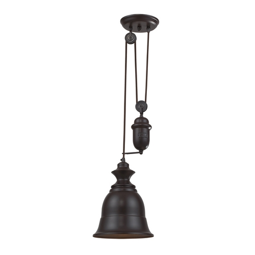 Elk Lighting Farmhouse Pulley Mini-Pendant Light with Bell Shade - Bronze Finish 65070-1