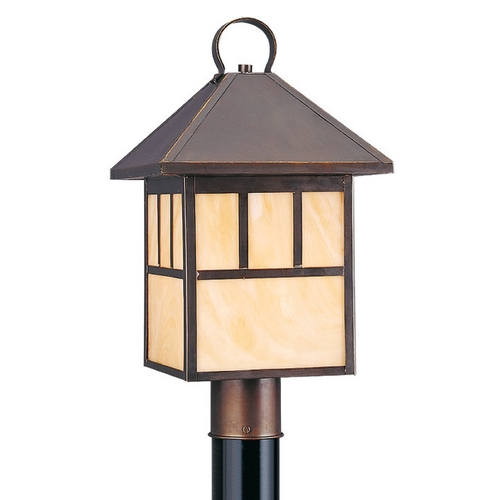 Sea Gull Lighting Post Light with Beige / Cream Glass in Antique Bronze Finish 8207-71