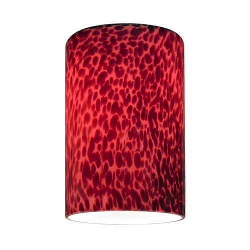 Design Classics Lighting Cylinder Glass Shade with Red Art Glass - Lipless with 1-5/8-Inch Fitter GL1018C