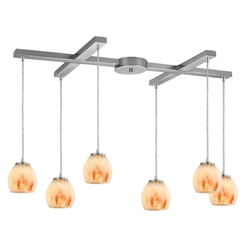 Elk Lighting Elk Lighting Melony Satin Nickel Multi-Light Pendant with Bowl / Dome Shade 10421/6TS