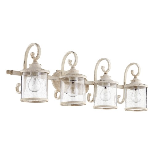 Quorum Lighting Seeded Glass Bathroom Light White Quorum Lighting 5073-4-70