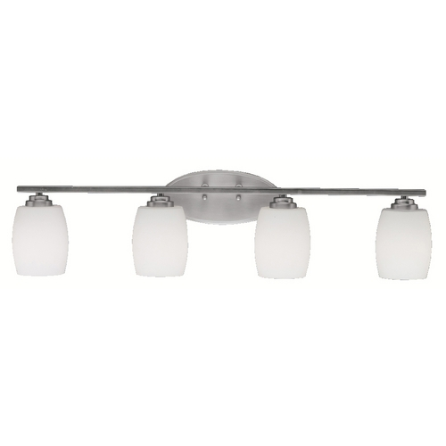 Kichler Lighting Kichler Bathroom Light with White Glass in Brushed Nickel Finish 5099NI