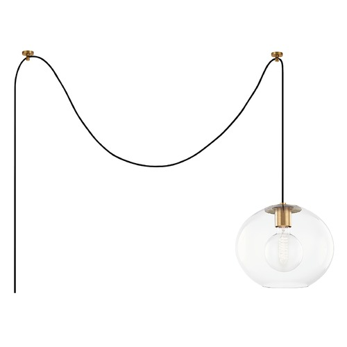 Mitzi by Hudson Valley Mitzi By Hudson Valley Margot Aged Brass Swag Light with Globe Shade HL270701L-AGB