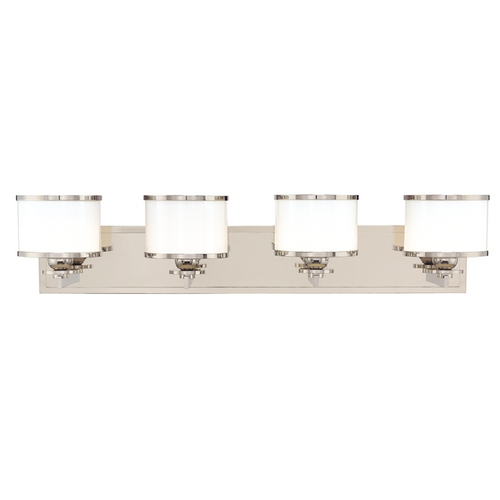 Hudson Valley Lighting Bathroom Light with White Glass in Satin Nickel Finish 6104-SN