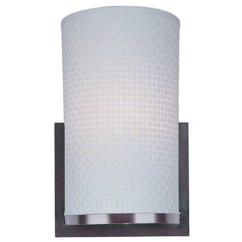 ET2 Lighting Modern Sconce Wall Light with White Shade in Oil Rubbed Bronze Finish E95184-100OI
