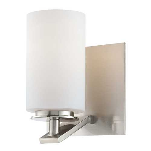 Minka Lavery Modern Sconce with White Glass in Brushed Nickel Finish 6551-84