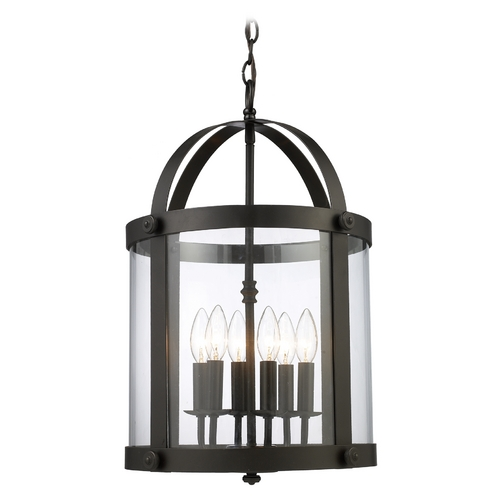 Elk Lighting Modern Pendant Light with Clear Glass in Oiled Bronze Finish 66282-6