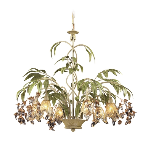 Elk Lighting Chandelier with Amber Glass in Seashell Finish 86053
