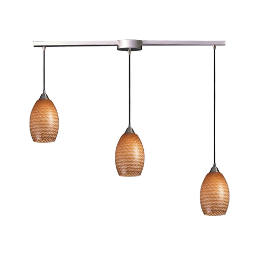 Elk Lighting Modern Multi-Light Pendant Light with Brown Glass and 3-Lights 517-3L-C