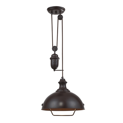 Elk Lighting Farmhouse Pulley Pendant Light - Bronze Finish 65071-1