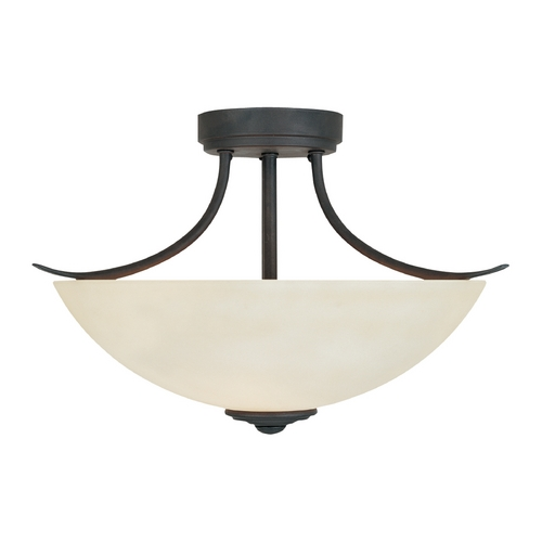 Designers Fountain Lighting Semi-Flushmount Light with Beige / Cream Glass in Oil Rubbed Bronze Finish 96911-ORB