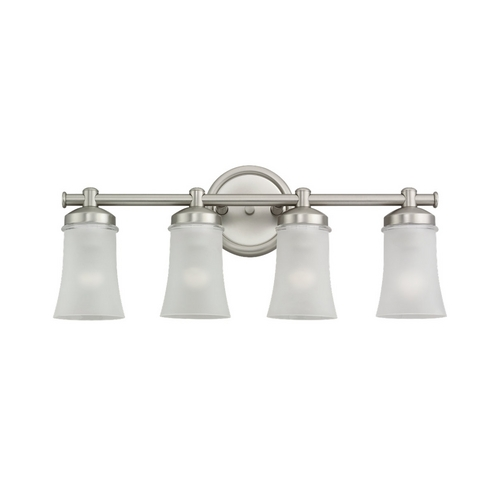 Sea Gull Lighting Modern Bathroom Light with White Glass in Antique Brushed Nickel Finish 44485-965