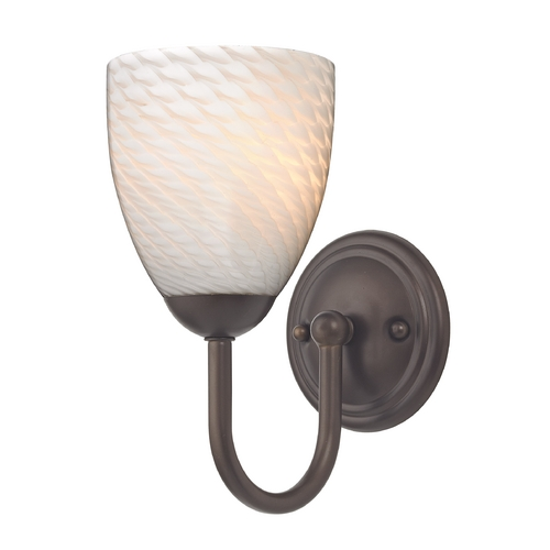 Design Classics Lighting Sconce with White Art Glass in Bronze Finish 593-220 GL1020MB