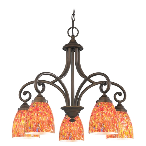 Design Classics Lighting Chandelier with Multi-Color Glass in Neuvelle Bronze Finish 717-220 GL1012MB