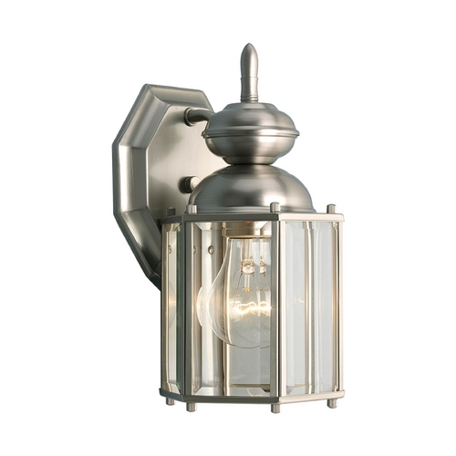 Progress Lighting Progress Outdoor Wall Light with Clear Glass in Brushed Nickel Finish P5756-09