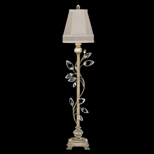 Fine Art Lamps Fine Art Lamps Crystal Laurel Antiqued Warm Silver Leaf Console & Buffet Lamp with Empire Shade 752915ST