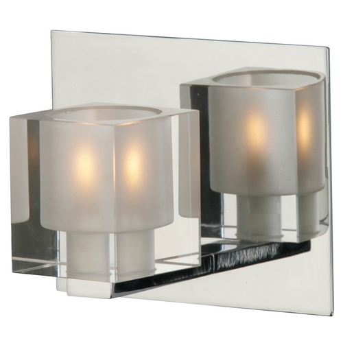 ET2 Lighting Modern Sconce with Clear Glass in Polished Chrome Finish E22031-18