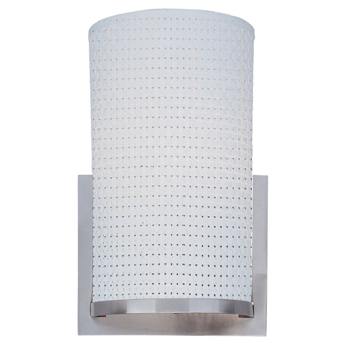 ET2 Lighting Modern Sconce Wall Light with White Shade in Satin Nickel Finish E95184-100SN
