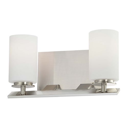 Minka Lavery Modern Bathroom Light with White Glass in Brushed Nickel Finish 6552-84