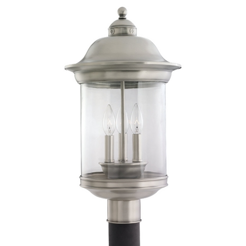 Sea Gull Lighting Post Light with Clear Glass in Antique Brushed Nickel Finish 82081-965