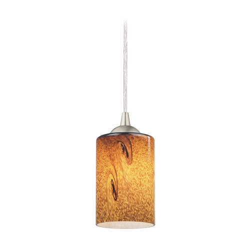 Design Classics Lighting Modern Mini-Pendant Light with Brown Art Glass 582-09 GL1001C