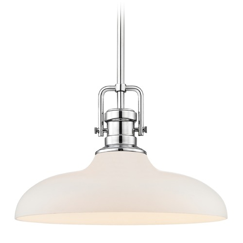 Design Classics Lighting Industrial Pendant Light Chrome Finish 14-Inch Wide 1763-26 G1784-WH