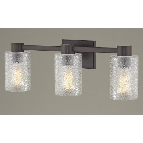 3 Light Ice Glass Bathroom Vanity Light Bronze 2103 220 Gl1060c Destination Lighting