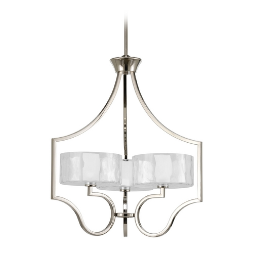 Progress Lighting Progress Drum Pendant Light with White Glass in Polished Nickel Finish P4644-104WB