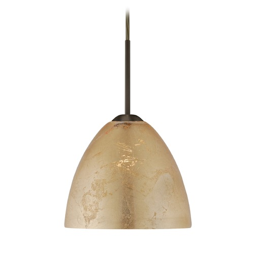 Besa Lighting Besa Lighting Sasha Ii Bronze LED Mini-Pendant Light with Bell Shade 1BT-7572GF-LED-BR