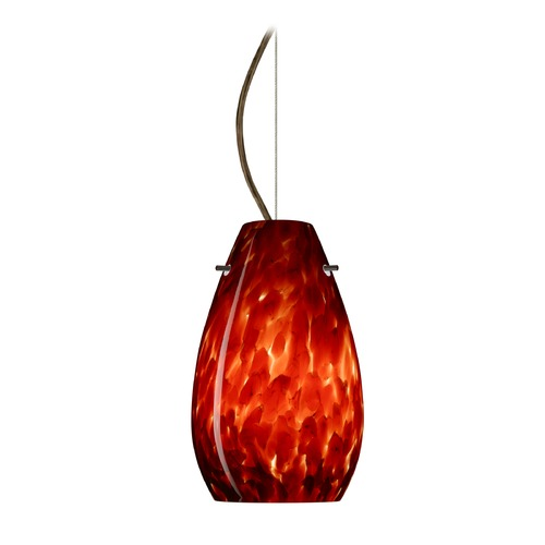 Besa Lighting Besa Lighting Pera Bronze LED Mini-Pendant Light with Oblong Shade 1KX-412641-LED-BR