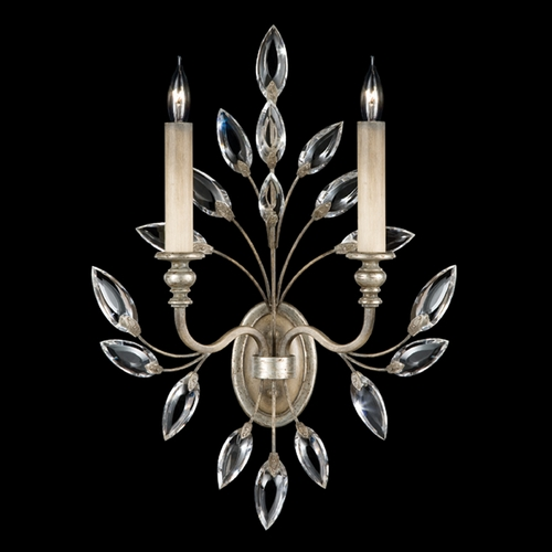 Fine Art Lamps Fine Art Lamps Crystal Laurel Antiqued Warm Silver Leaf Sconce 752350ST