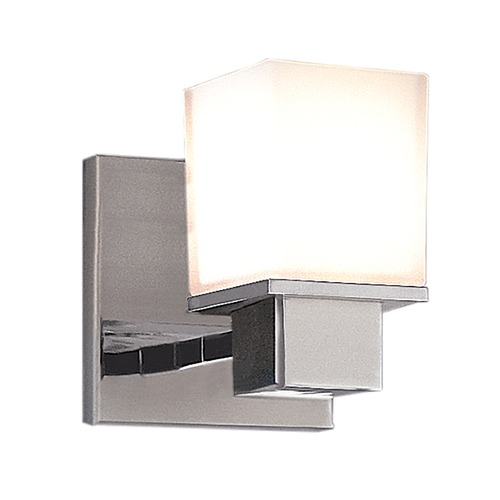 Hudson Valley Lighting Modern Sconce with White Glass in Satin Nickel Finish 4441-SN