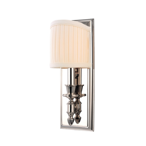 Hudson Valley Lighting Sconce Wall Light with White Shade in Polished Nickel Finish 881-PN
