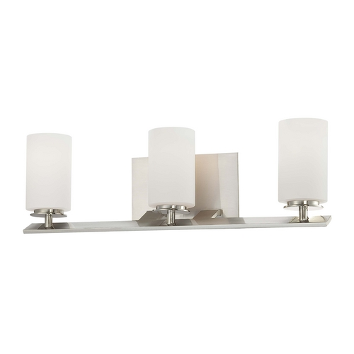 Minka Lavery Modern Bathroom Light with White Glass in Brushed Nickel Finish 6553-84