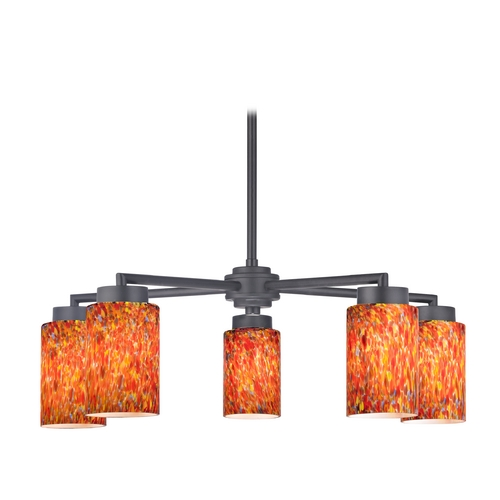 Design Classics Lighting Modern Chandelier with Five Lights and Art Glass in Black Finish 590-07 GL1012C