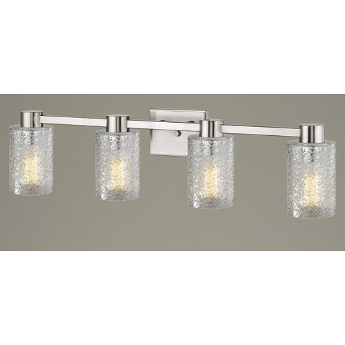 Design Classics Lighting 4-Light Ice Glass Bathroom Vanity Light Satin Nickel 2104-09 GL1060C