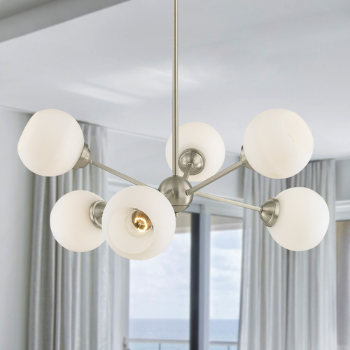 Design Classics Lighting Design Classics Haus Satin Nickel Chandelier with Satin White Shades 1832-09 G1832-WH