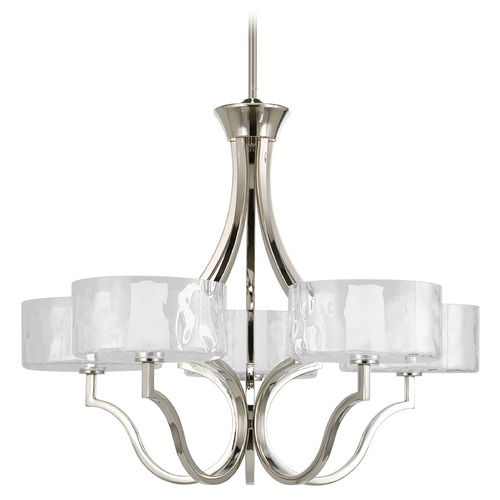 Progress Lighting Progress Chandelier with White Glass in Polished Nickel Finish P4645-104WB