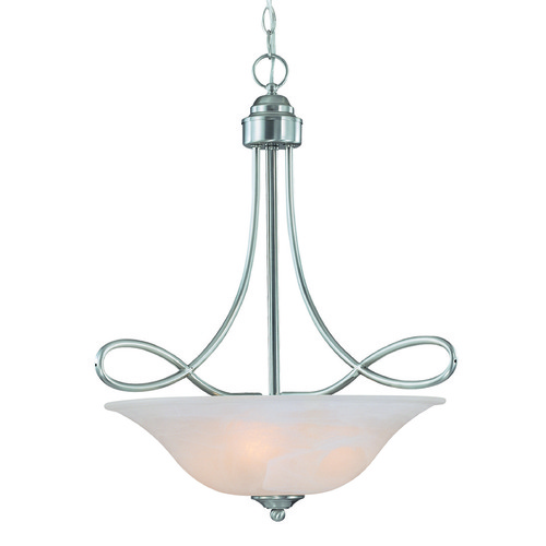 Craftmade Lighting Craftmade Cordova Satin Nickel Pendant Light with Bowl / Dome Shade 25023-SN