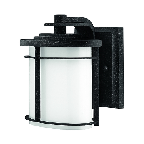 Hinkley Lighting Outdoor Wall Light with White Glass in Vintage Black Finish 1126VK