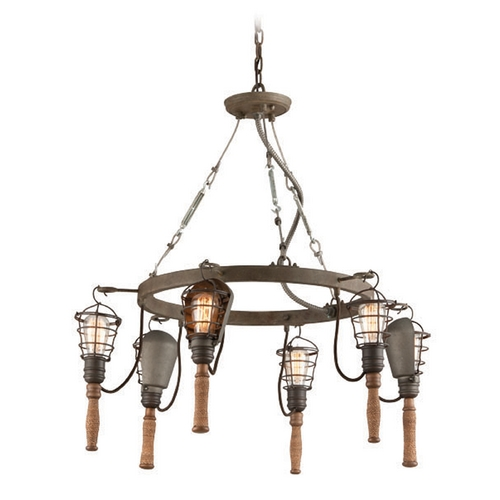 Troy Lighting Troy Lighting Yardhouse Rusty Galvanized Chandelier F4175